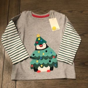 Mini Boden NWT 12-18m Christmas tree penguin shirt